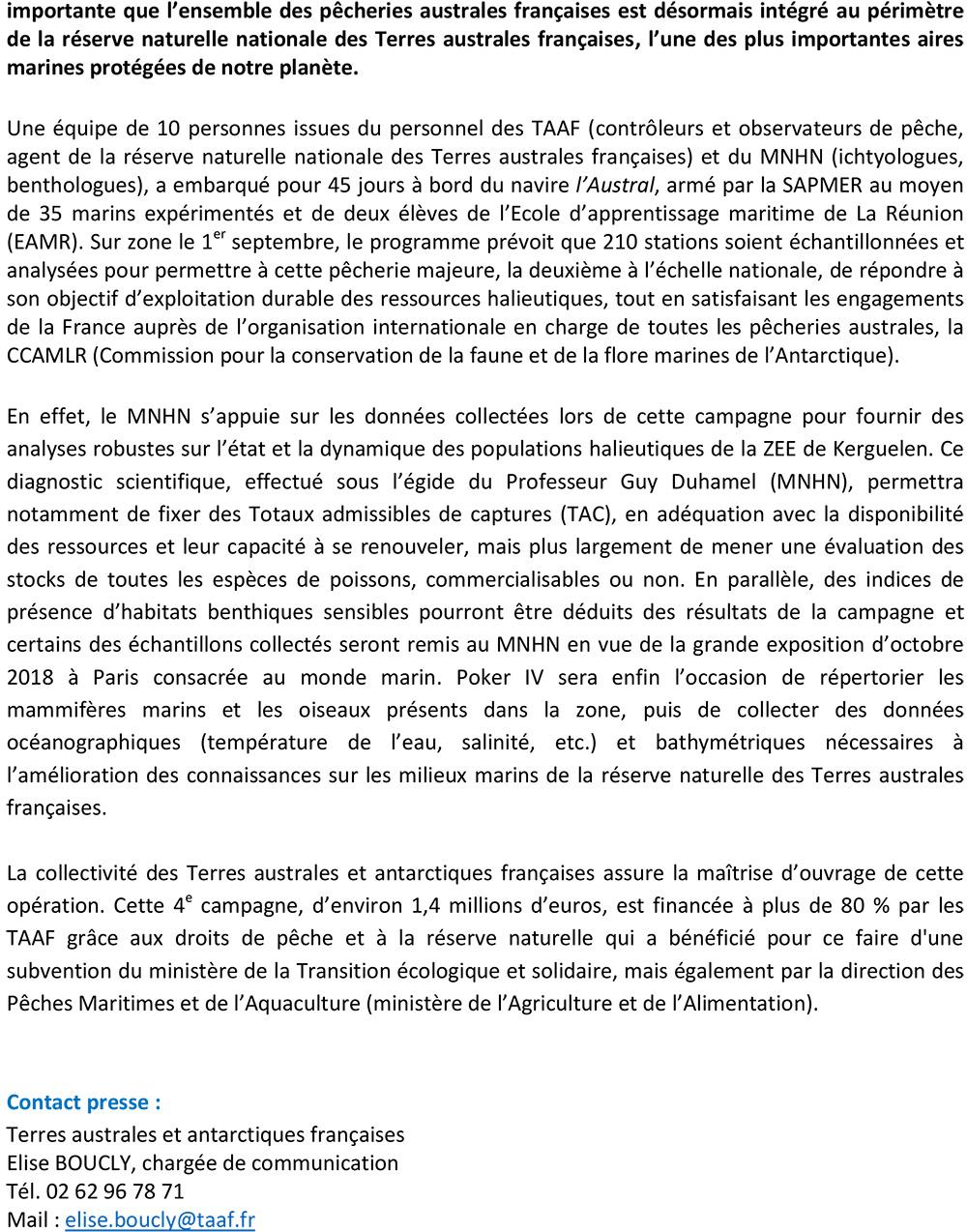 Communiqué de Presse Campagne Poker des TAAF page 2