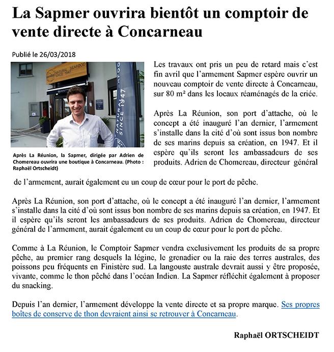 La Sapmer ouvrira bientôt un comptoir de vente directe à Concarneau